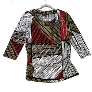Etcetera  Multicolor Print Side Ruched Blouse